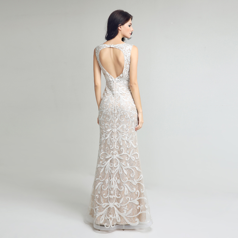 Élégante dentelle sirène longues robes De soirée Sexy dos ouvert ivoire robes De soirée formelles robes De bal Robe De soirée LSX212 - 3