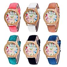 Snowmen cartoon wooden watches lovers couples leather female male watch students Christmas gifts Lovers new arrival