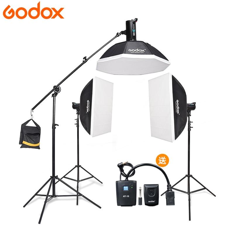 Godox 3*DE300 Strobe <font><b>Lights</b></font> Set Kits with RT-16 trigger + 3*Softbox with <font><b>Light</b></font> Stand for Professional Photography Studio