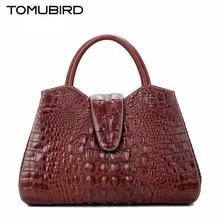 2017 New Genuine Leather Shoulder Messenger bag female High end crocodile pattern hand bag woman High