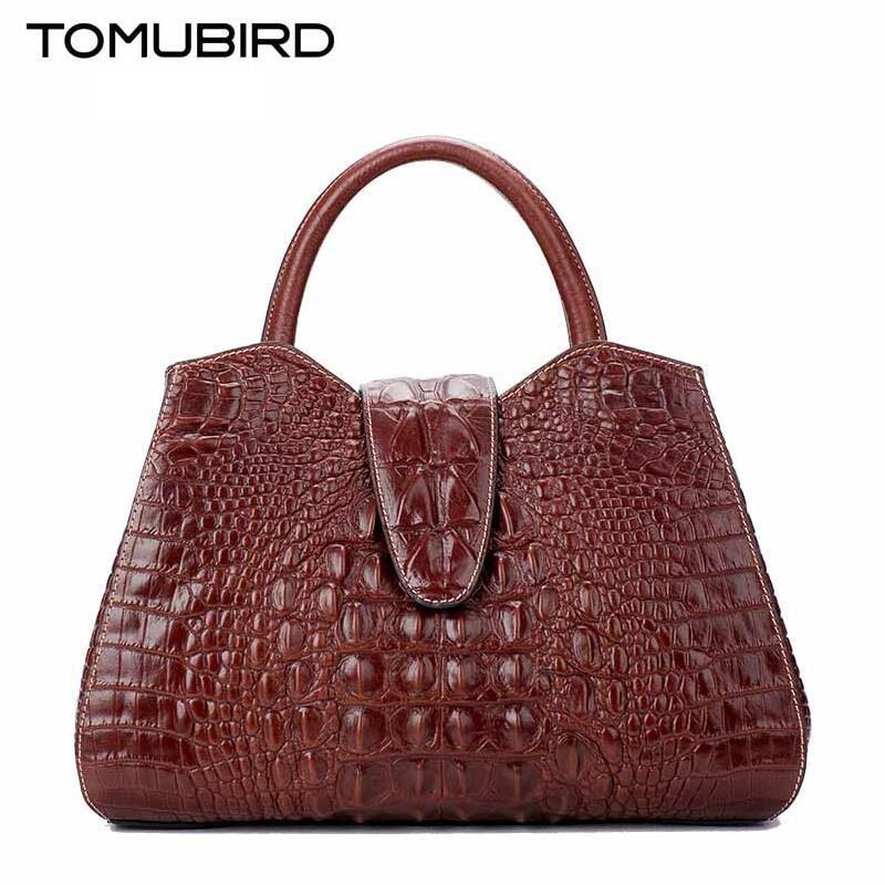 2017 New Genuine Leather Shoulder Messenger font b bag b font female High end crocodile pattern