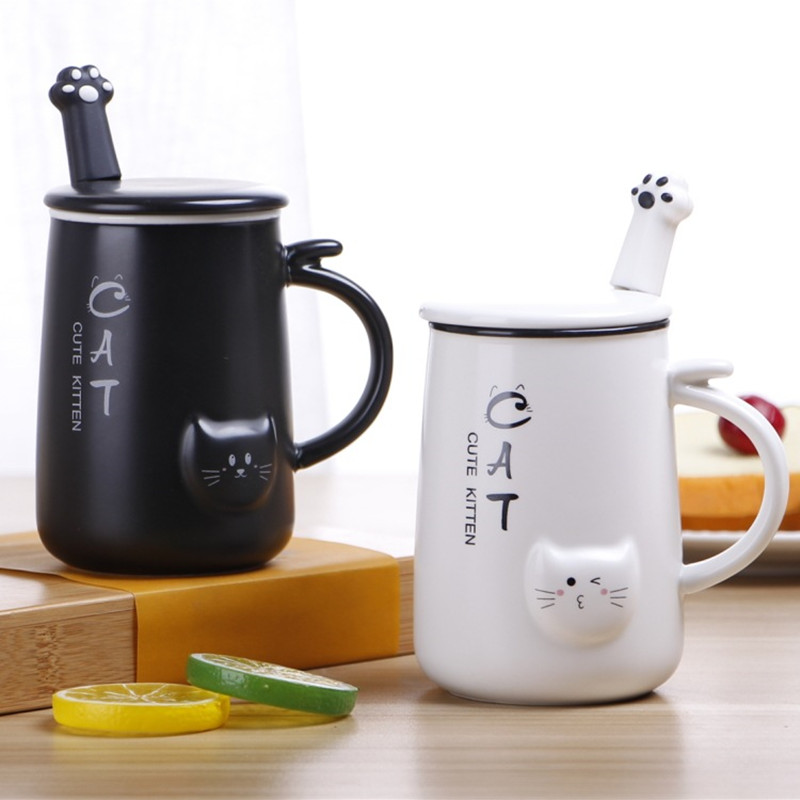 Ceramic Coffee Mugs With Lid Cats Cups