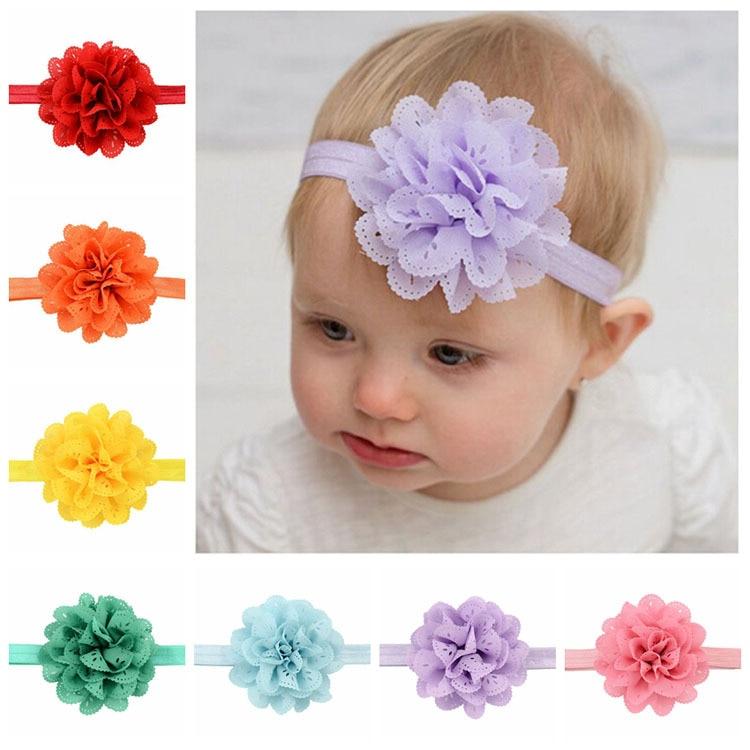 "15 Pcs 2/""  Baby Girl Satin Gauze Fabric Flower Hair Accessory Hair band No Clip"