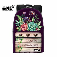 ONE2 2017 New Design Succulents Plants Flower image of school bag backpack for school students printing canvas backpack rucksack