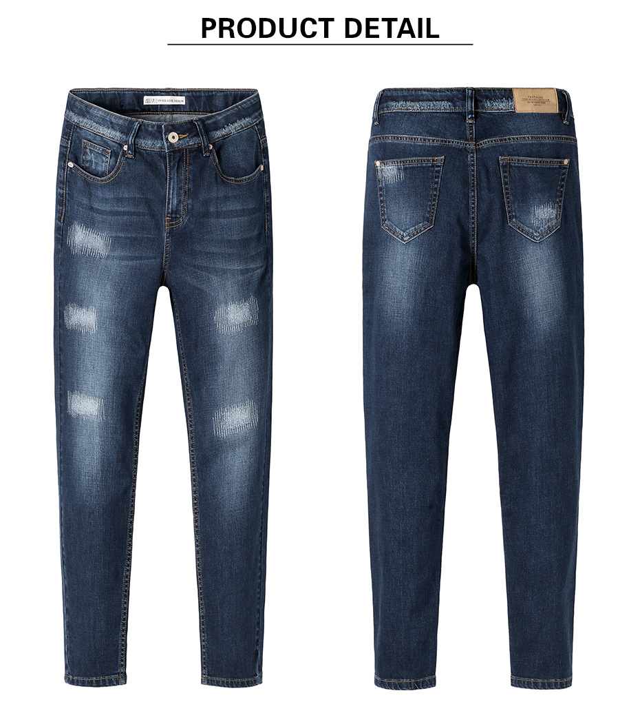 17 New arrival Jeans women Ripped loose style Bleached mid waist low elastic Plus size jeans 40-1KG Available 9