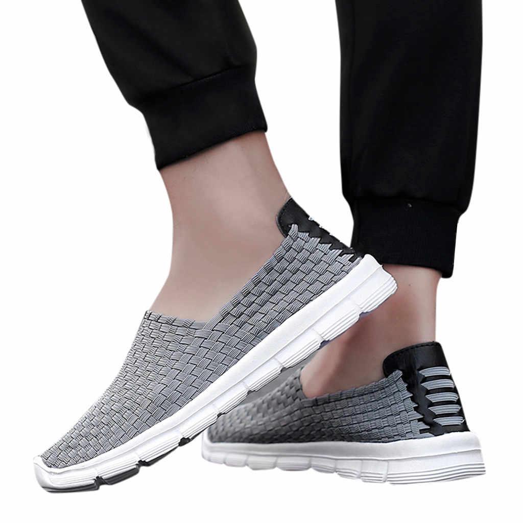 2018 nova malha rendas-up amantes de alta qualidade casa casal sapatos casuais respirável mão-tecido preguiçoso sapatos de condução tênis #520