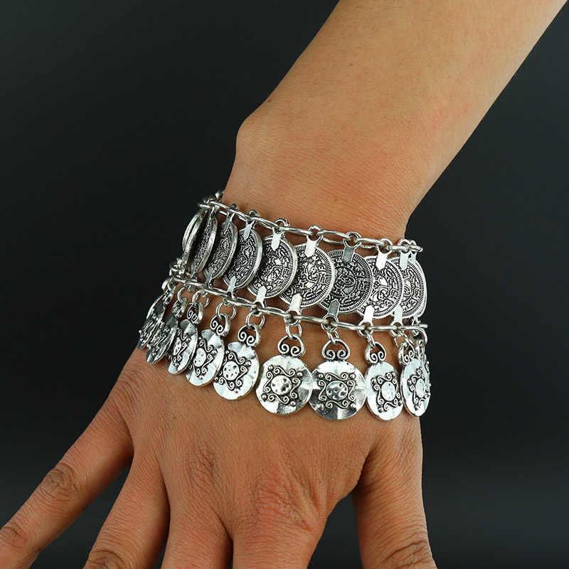 新合金ヴィンテージボヘミアンブレスレットバングルジプシーエスニック多層女性のファッション銀メッキブレスレット用女性ファインジュエリー