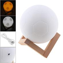 12CM Rechargeable Light 3D Print Football Lamp 2 Colors Change Touch Switch Press Adjust Brightness for Creative Gift/Home Decor