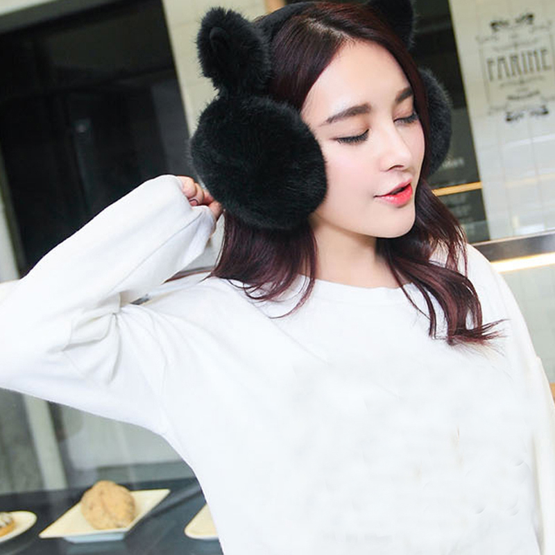 1pc Lovely Cat Ear Cache Warm Comfort Bowknot Earmuffs Women Trendy Faux Fur Ladies Cute Fluffy Winter Soft Christmas Gifts