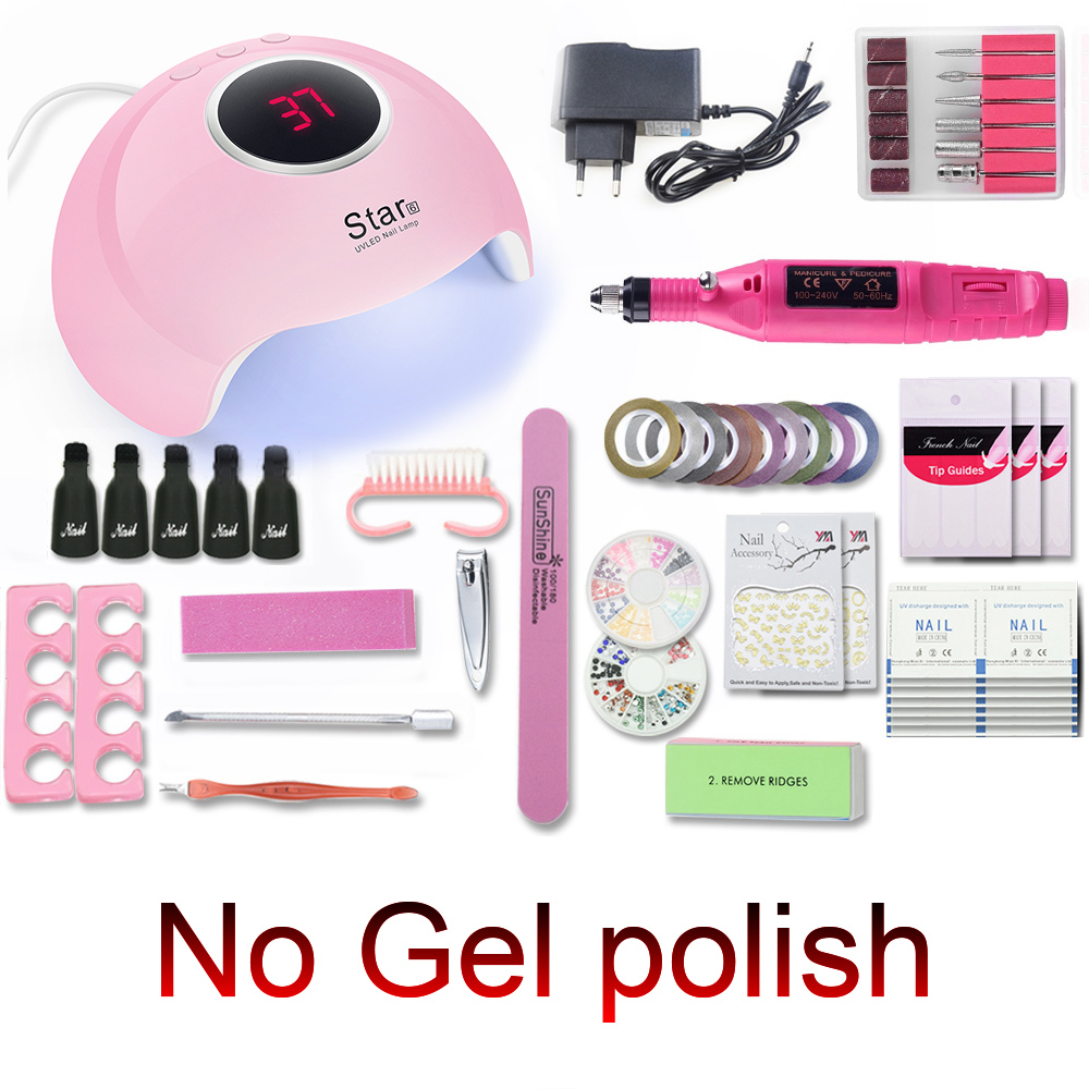 Nail Set Portable 80 54 36W UV LED Nail Lamp for for Manicure No Nail Gel Polish with 20000RPM machine Pedicure Manicure Tools in Sets Kits from Beauty Health