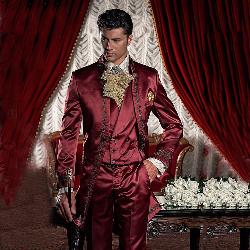 Wine Red Burgundy Satin Men Suit Stand Collar Vintage Italian Style Formal Tuxedos Wedding Suits For Men Costume Homme Mariage