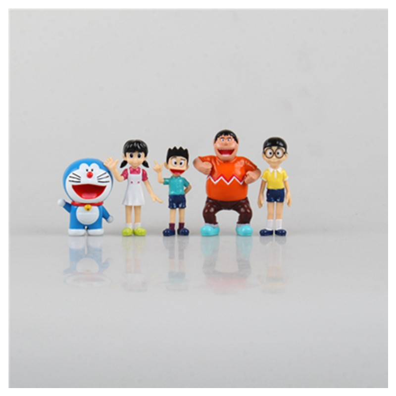 5pcs/Set Doraemon Action Figure Toy PVC Anime Collectible Model Takeshi Goda Figure Doll for Baby Kids Gift