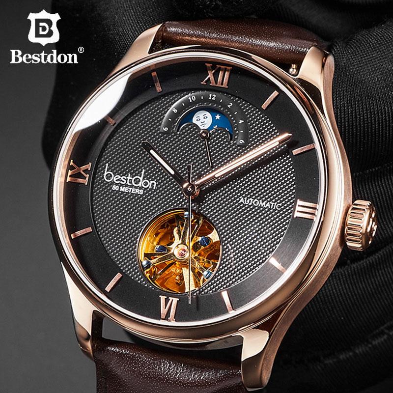 Bestdon Mechanical Watch Men Leather Skeleton Automatic Wristwatch Switzerland Luxury Brand Man Moon Phase Clock Hollow
