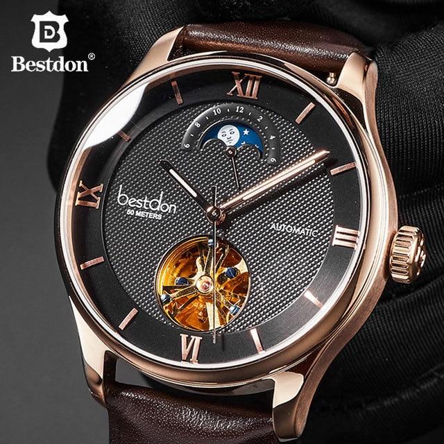 Bestdon Mechanical Watch Men Parnis Skeleton Automatic Wristwatch Switzerland Luxury Brand Man Moon Phase Clock Hollow Business