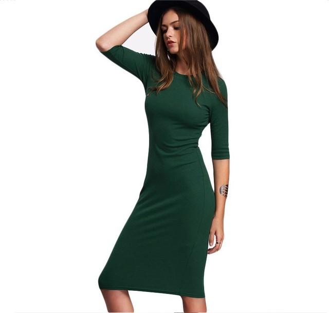 Mulheres Verão Vestido Bodycon Sexy 2017 Verde Lazer T-shirt Meia Manga Vestido