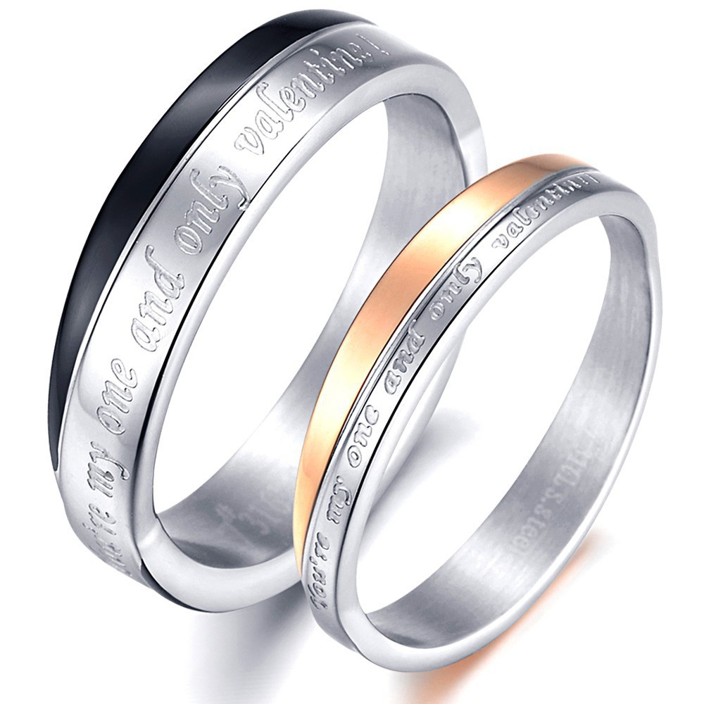 Aliexpress.com : Buy Matching Titanium Steel Lovers Promise Ring ...