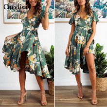 цена Printed Dress Green Tropical Beach Vintage Dresses Boho Casual V Neck Plus Size Dress Sexy Party Summer Vintage For Women Gift онлайн в 2017 году