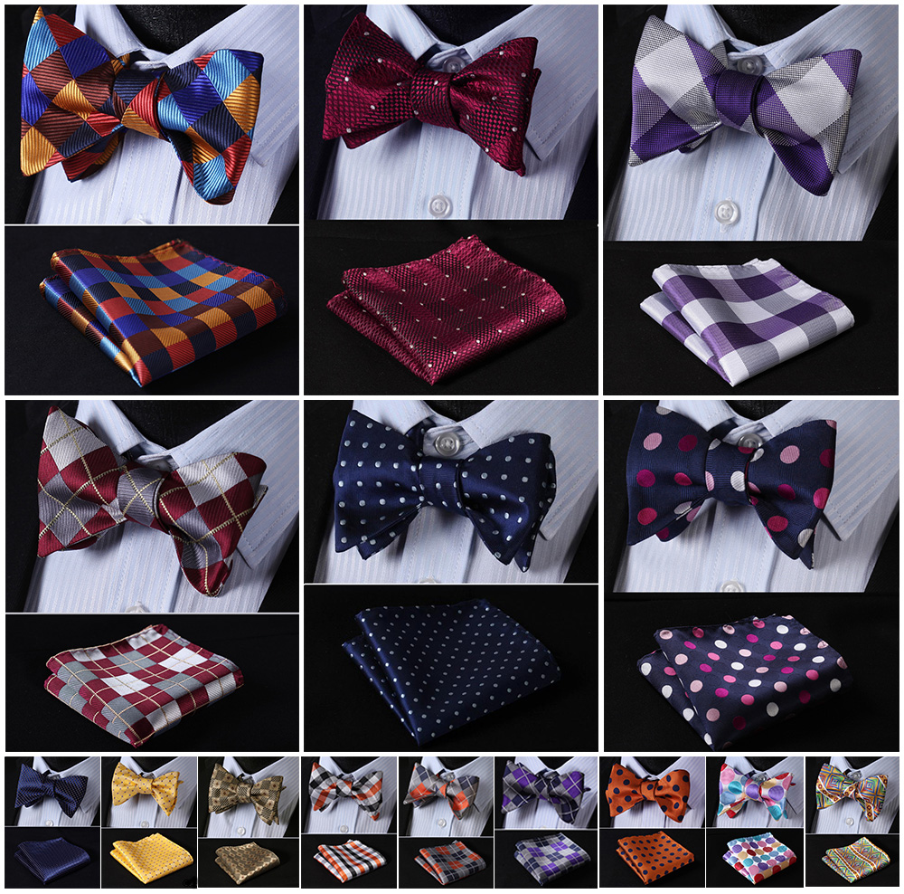 Check Polka Dot Silk Jacquard Woven Men Butterfly Self Bow Tie BowTie Pocket Square Handkerchief Hanky Suit Set G5