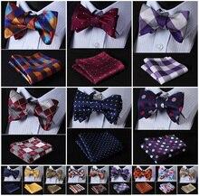 Check / Polka Dot Silk Jacquard Bow Tie & Handkerchief Set
