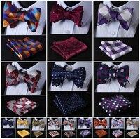 Check Polka Dot Silk Jacquard Woven Men Butterfly Self Bow Tie BowTie Pocket Square Handkerchief Hanky