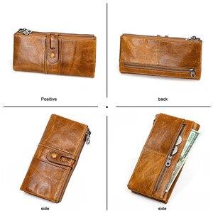 Image 5 - Mannen Portemonnees Lange Rits Lederen Mannelijke Clutch Bags Met Gsm Houder Hoge Kwaliteit Kaarthouder Portemonnee