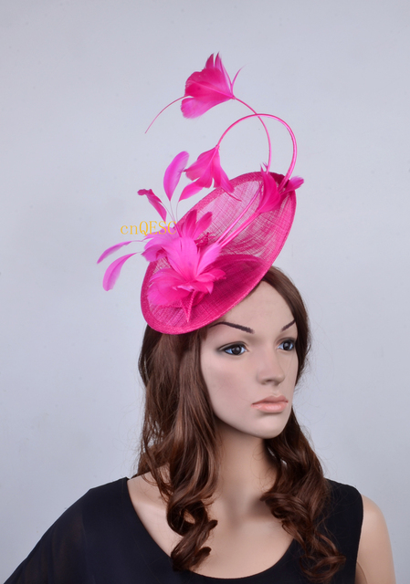 c069e062f54 Hot pink fuchsia Feather Fascinator Sinamay hat church hat for melbourne  cup