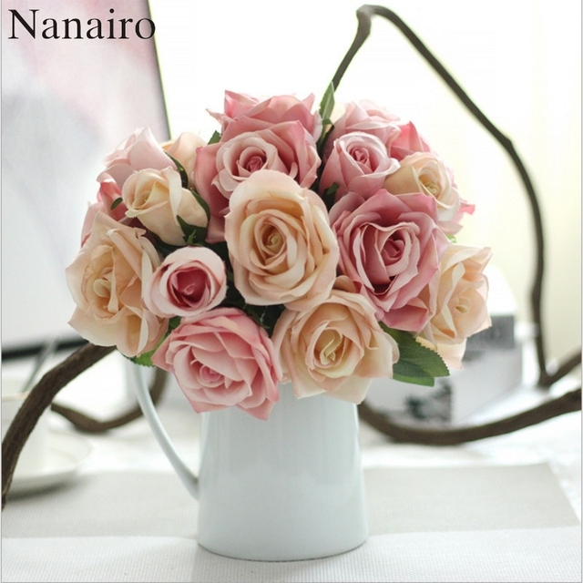 European Artificial Silk Flowers Rose Bride Bouquet For Wedding Party Decoration Wreath Plant Table Arrangement Fake Flower