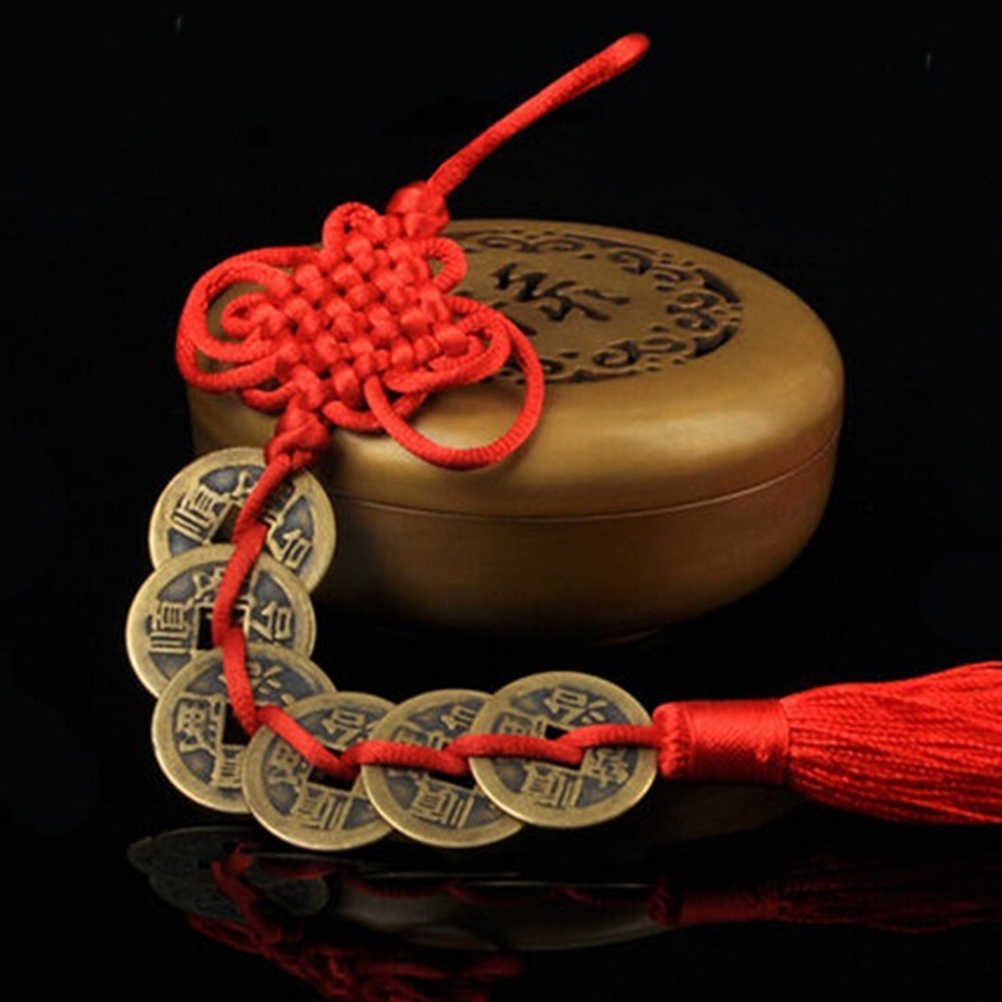 1 adet Vintage Kırmızı Çin Düğüm Feng Shui Bakır Paraları 1/2/3/5/6 Paraları servet Başarı Şanslı Charm Ev Araba Askı Dekor