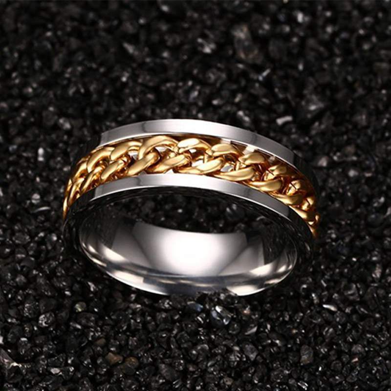 Gold Spinner Chain Charm Ring Men Jewellry Stainless Steel Fashion Anel Masculino Large Size