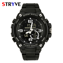 Stryve Brand New Men's Army Miltiary Big Dial Waterproof Men Sports Clock Dual Display Digital Quartz Watch relojes para hombre javi brand sports watch men waterproof relojes para hombre dive 30m digital electronics wristwatches hot clock fashion 4 color