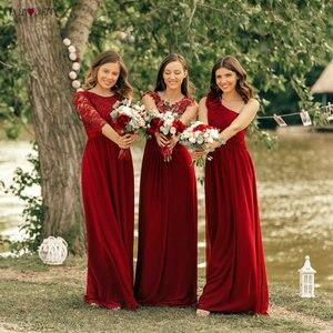 Image 3 - Kiedykolwiek dość burgundowe sukienki druhen długi szyfonowy aplikacja tanie piętro długość druhna ślubna suknia formalne sukienki na przyjęcie
