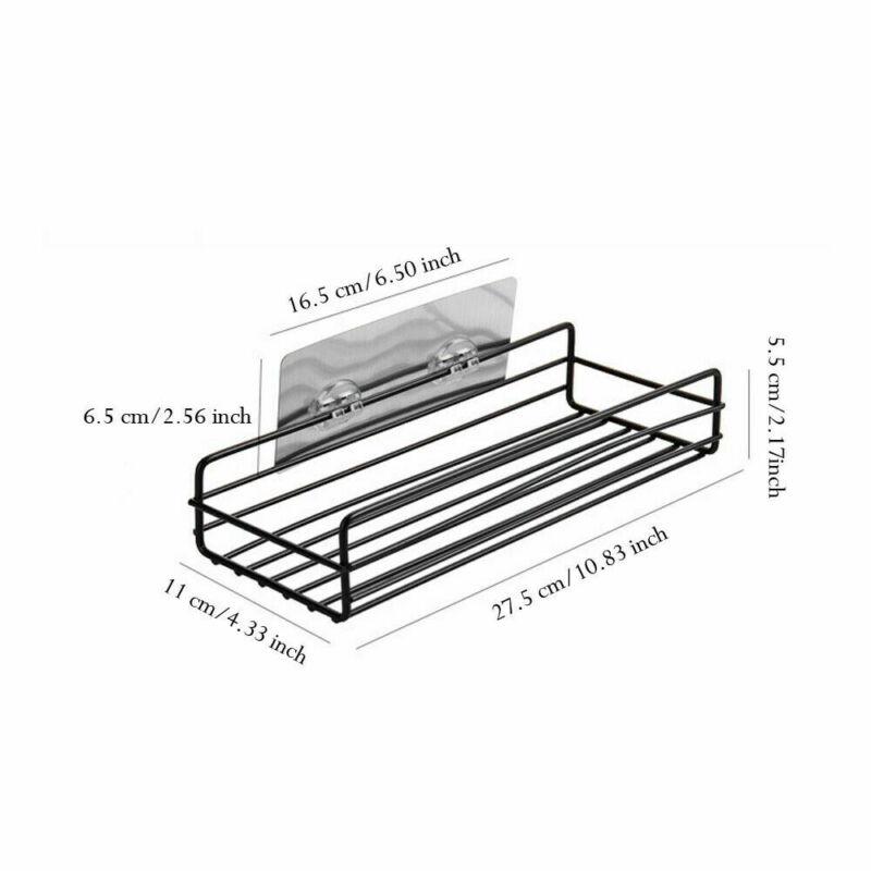 2019 New White Black Stainless Steel Shower Caddy Bathroom Wall Storage Rack Shelf Organiser Basket in Storage Holders Racks from Home Garden
