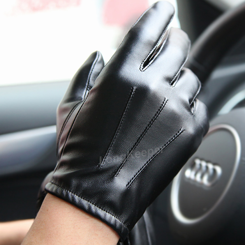 Driving Hot Men's Luxurious PU Leather Winter Autumn Driving Keep Warm Gloves Cashmere Tactical Gloves Black Outdoor Sports