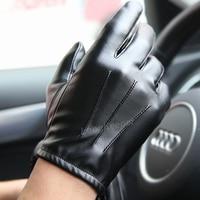 Guantes tácticos de Cachemira para conducir para hombre, de cuero sintético, de lujo, para invierno y otoño, color negro, para deportes al aire libre