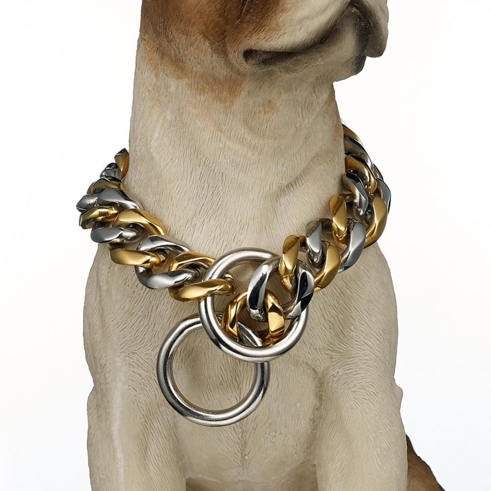 Hip Hop 19mm 12 32 inch Tone Double Colors Curb Cuban Rombo Link Stainless Steel Dog Chain Collar Wholesale Drop Shipping