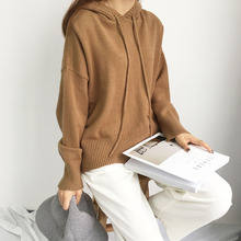 Good quality hooded drawstring sweater knit tops woman winter spring 2018 top female sweaters loose pullovers chic solid color