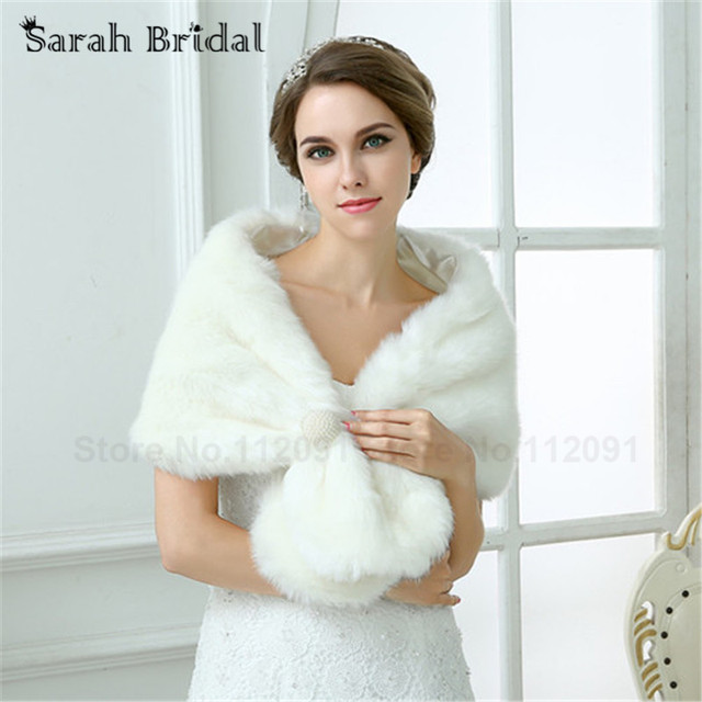 Wedding Jacket Bridal Wraps And Shawls 2017 White Pearl Faux Fur Bolero Capes For Women