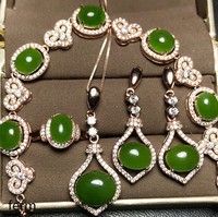 KJJEAXCMY exquisite jewelry 925 pure silver inlaid natural jade Girl Jewelry Set rings, pendant earrings bracelet 5 pieces