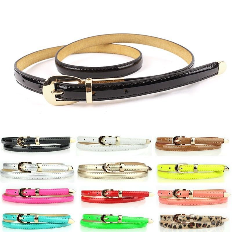 Back To Search Resultsapparel Accessories Sweetness Women Faux Leather Belts Candy Color Thin Skinny Waistband Adjustable Belt S72