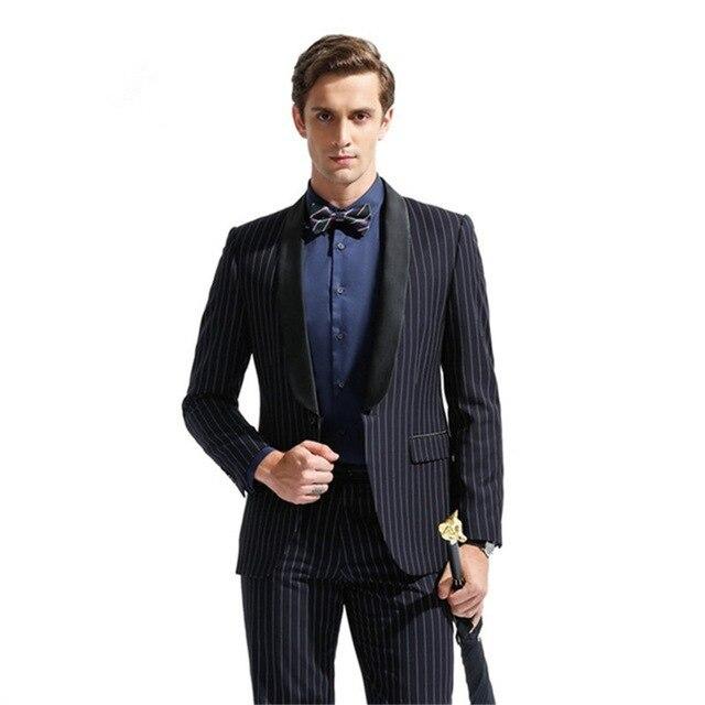 2018 Custom raya hombres traje para la boda 2 piezas Slim Fit esmoquin  Masculino último novio 3e1eb5a4961