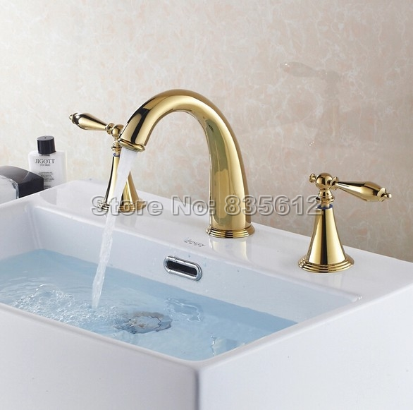 Widespread Gold Color Brass Bathroom Faucet 3 Hole Deck Mounted / Washbasin Mixer Sink Taps / Bathtub Faucets j034Widespread Gold Color Brass Bathroom Faucet 3 Hole Deck Mounted / Washbasin Mixer Sink Taps / Bathtub Faucets j034