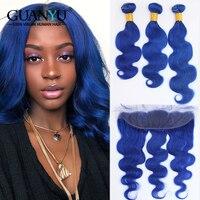 Guanyuhair предварительно Цветной синий Пряди человеческих волос для наращивания 3 Связки с закрытием кружева фронтальной 13X4 перуанский Волосы
