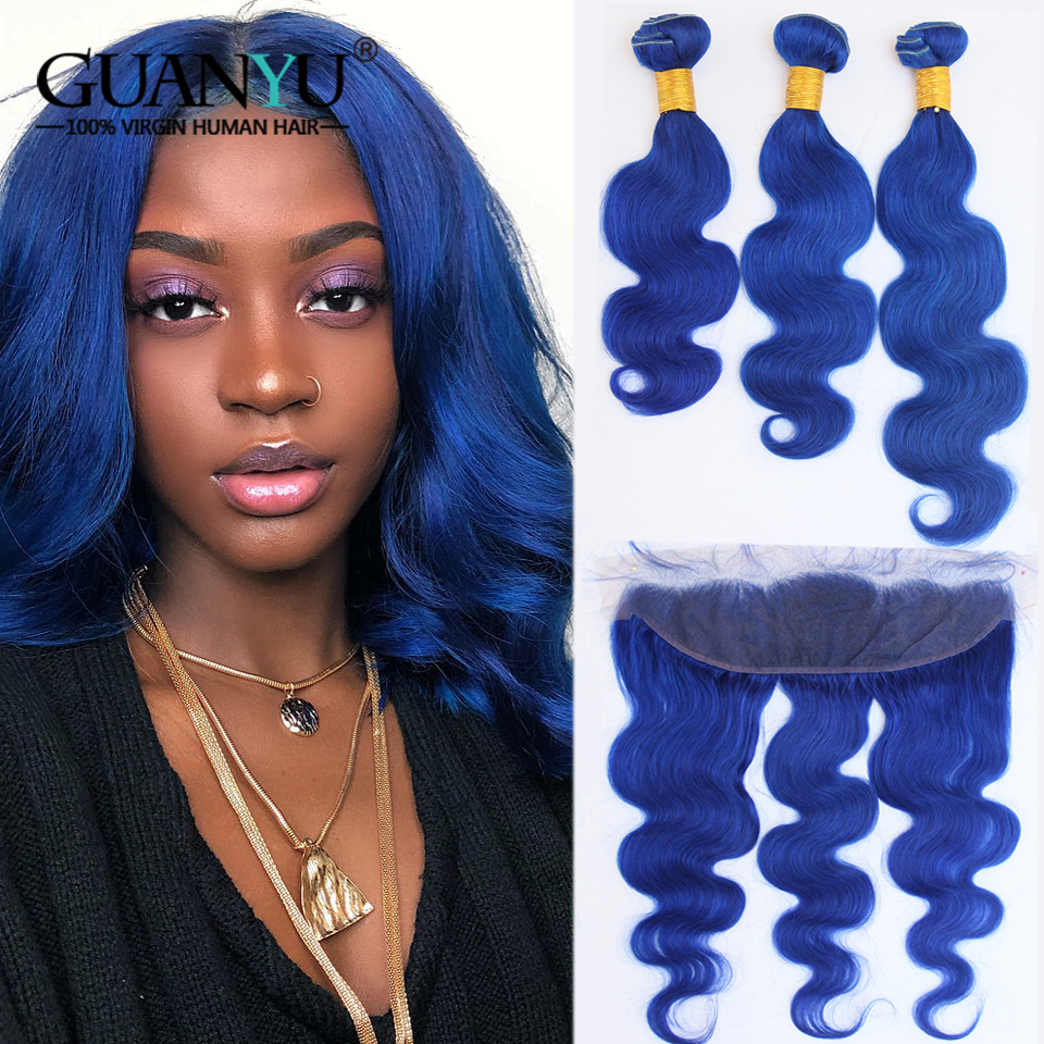 Human Hair Weaves Guanyuhair Pre-colored Blue Human Hair Extensions 3 Bundles With Lace Frontal Closure 13x4 Peruvian Remy Hair Body Wave Let Our Commodities Go To The World