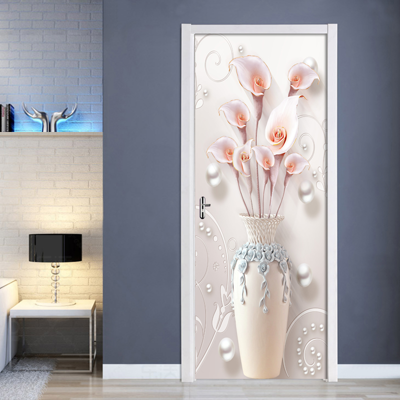 3D Jewel Vase Flower 3D Door Sticker PVC Waterproof Self-adhesive Wall Sticker Living Room Bedroom Door Home Decor Mural Decals