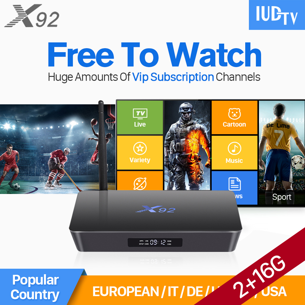 X92 2GB 16GB Android 6.0 Smart TV Box TV Receivers with HD IUDTV IPTV Subscription 1 Year IPTV Europe Arabic Media Player