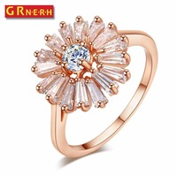 GR.NERH Top Quality Trendy Micro Cubic Zirconia Pave With Clear Stone Romantic Sunflower Genuine Ring For Women Jewelry