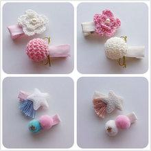 2 Pcs/set Fashion girl Hairpins Handmade Glitter star flower mini Hair Clips Star kids hairgrips children Accessories J72