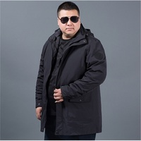 plus size 8XL 6XL 5XL 4XL Fall Autumn jacket men 2 in 1 set parka jacket windproof waterproof hooded Overcoat Casual Male Jacket