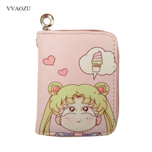 Coin Purse Wallets Sailor-Moon Anime Card-Holders Zipper Girls Mini Women Short Pink-Color