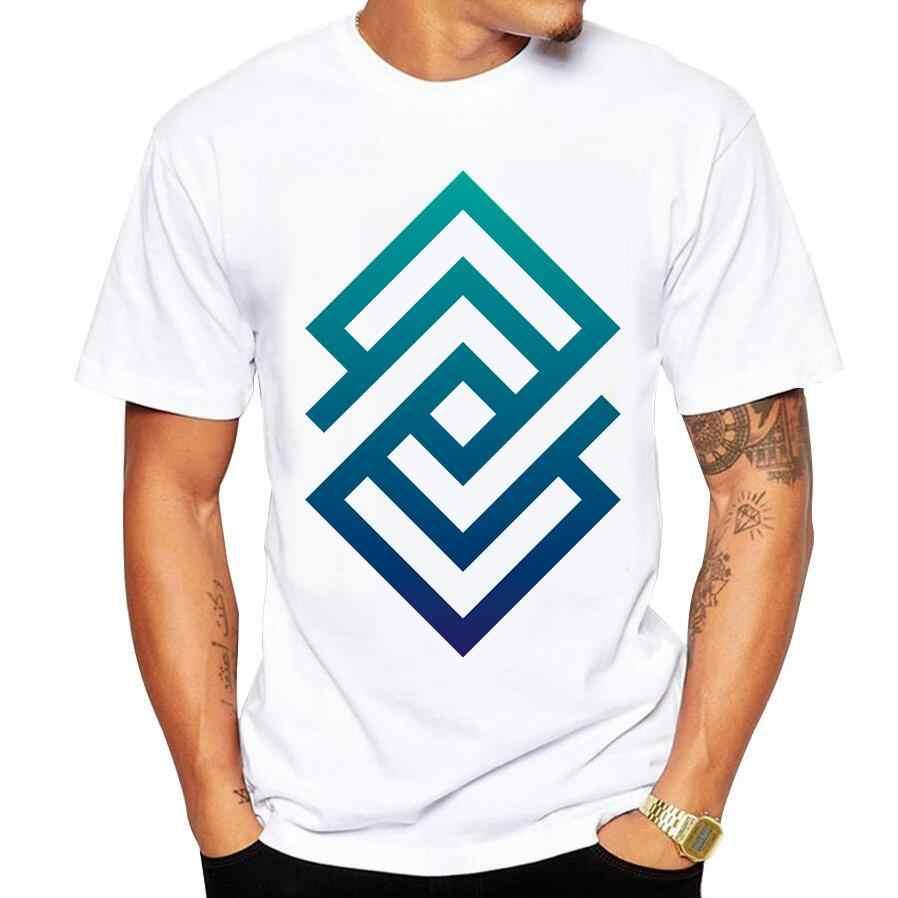 2018 Geometric Design Men's T Shirt Abstract Blue Geometry